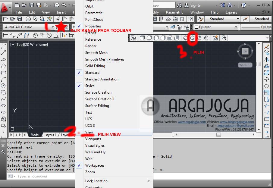 tampilkan tolbar view 3d