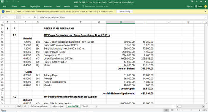 Download Analisa Excel