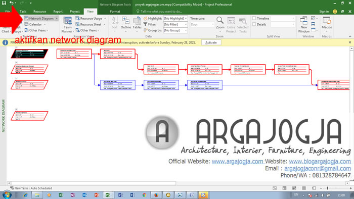 cara menampilkan network diagram PDM