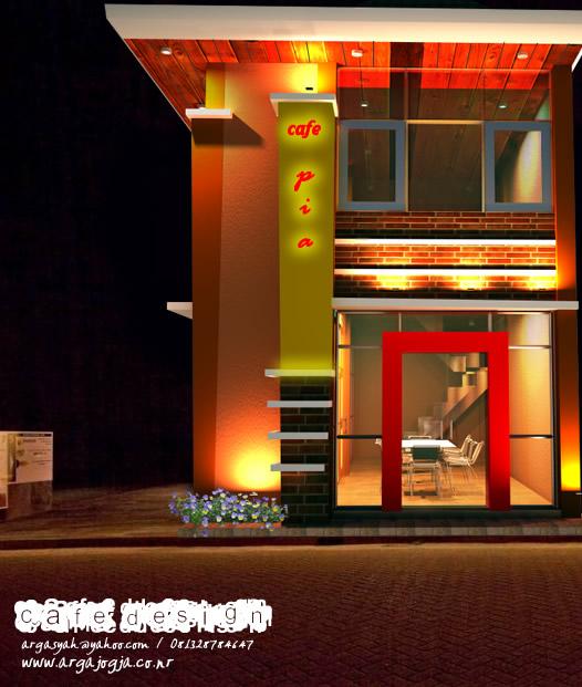 desain eksterior fasad modern cafe pia night