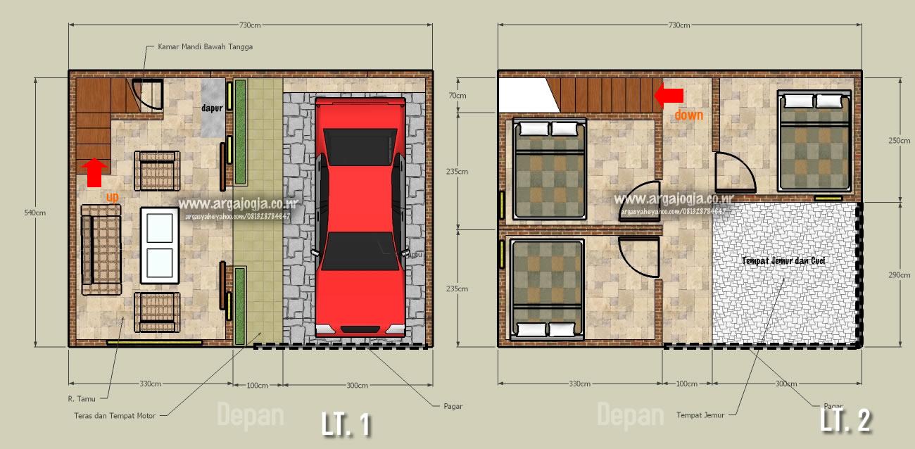 Desain Denah Rumah 2 lantai Pada Lahan  Yang Kecil 40 m2