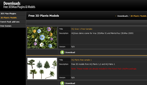 Free Download 3D Plants Models, Plugin and Free Scene