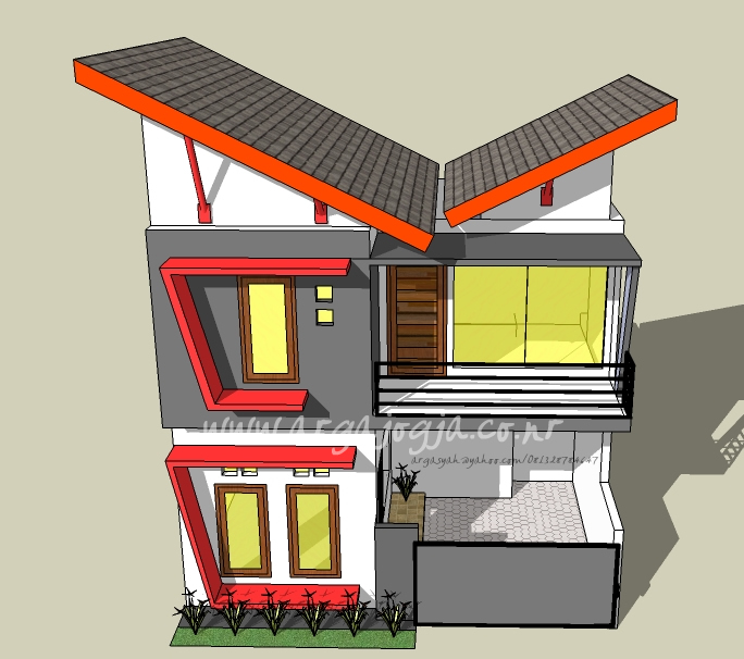 Desain Eksterior Rumah Kecil 2 Lantai pada Lahan 40 m2
