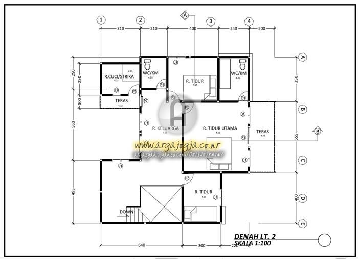 Desain Rumah 2 Lantai Dwg  gambar kerja arsitektural dan utilitas rumah minimalis 2