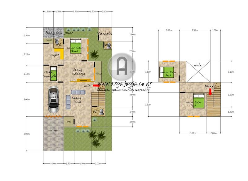 Desain Denah Rumah 2 Lantai Dengan Taman Samping dan Mushola