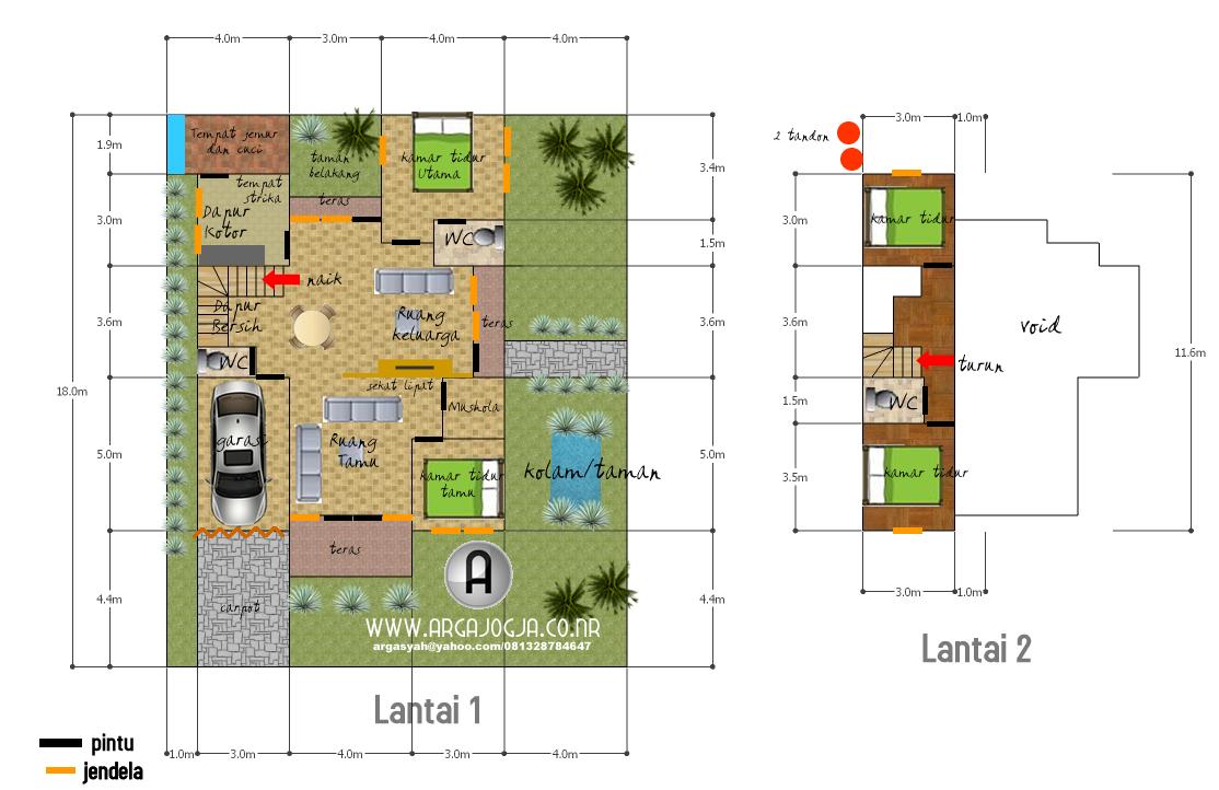 Desain Skecth Denah Rumah Tipe 150 Atap Satu Sisi
