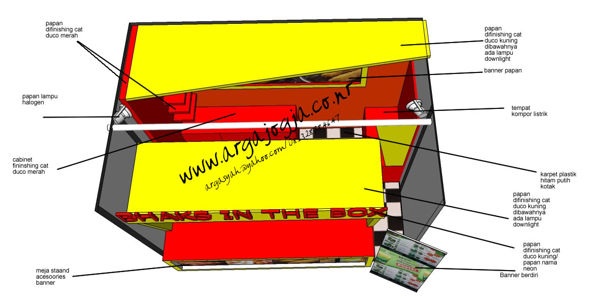 Desain Furniture Stand Booth Makanan dan Minuman SKetch Denah