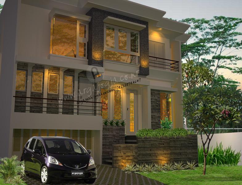 Desain Eksterior Rumah Modern Minimalis 2,5 Lantai Tipe 180