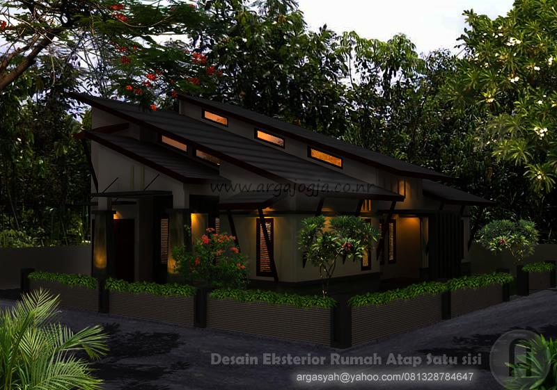 Desain Eksterior Rumah Modern Tropis Atap Satu Sisi di Lahan Pojok