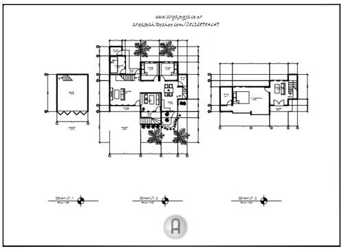 Denah Gambar Kerja Rumah Modern  Minimalis 2,5 Lantai + Download