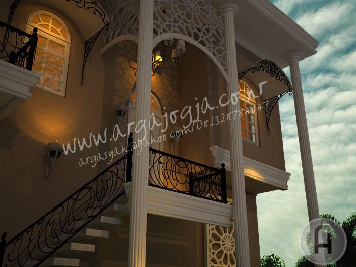 Desain Eksterior Rumah Gaya Mediterania Klasik 2 Lantai