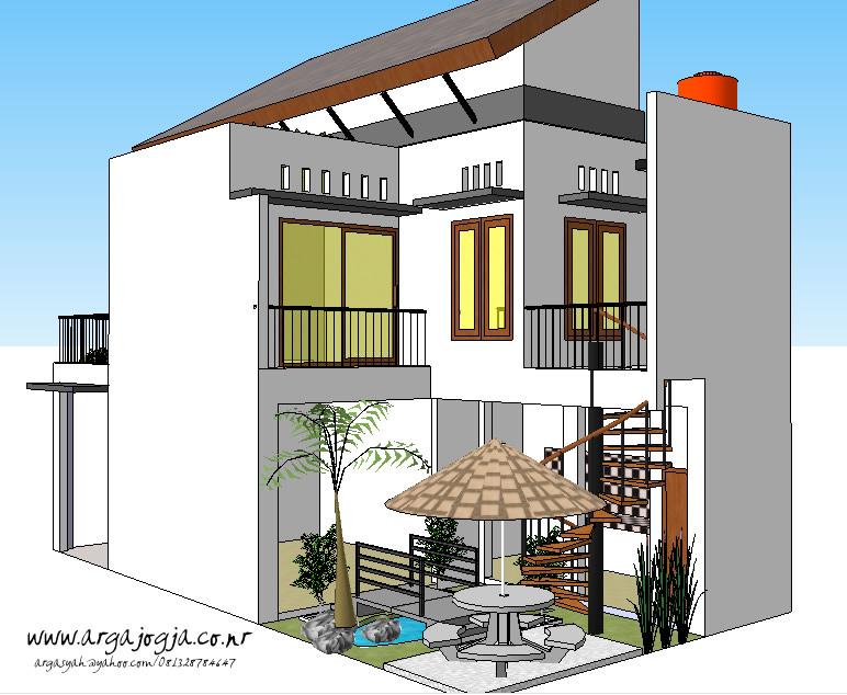 Desain Taman Belakang Kecil Rumah 2 Lantai Lebar 6 Meter