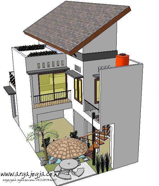 Desain Taman Belakang Rumah 2 Lantai Kecil Lebar 6 Meter View 3