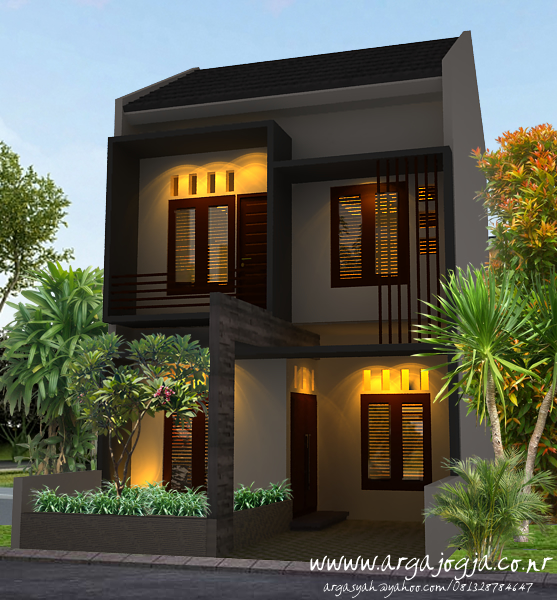 Desain Fasad Eksterior Rumah Modern Minimalis 2 Lantai Pada Lahan Yang Kecil
