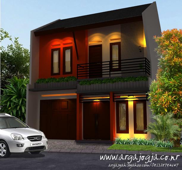 Desain Eksterior Rumah Sejuk 2 Lantai Lahan Terbatas