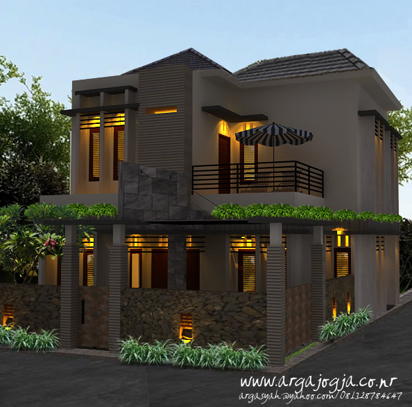 Desain Fasad Eksterior Rumah 2 Lantai di Lahan Pojok Gaya Modern Minimalis