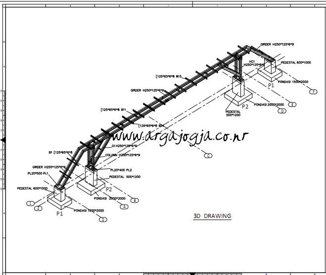 Jembatan Kabel AutoCAD