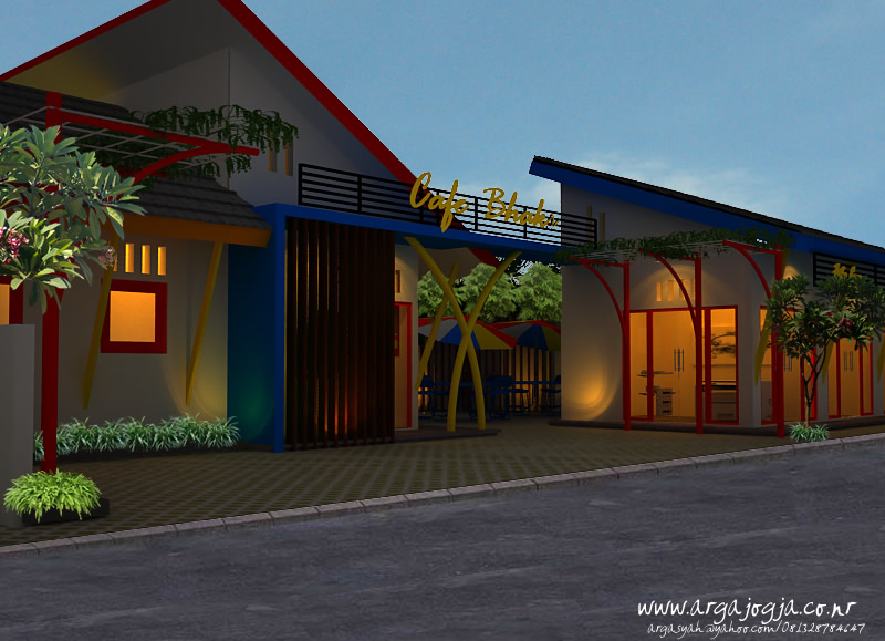 Desain Eksterior Cafe Trendi Full Color Front Angel View