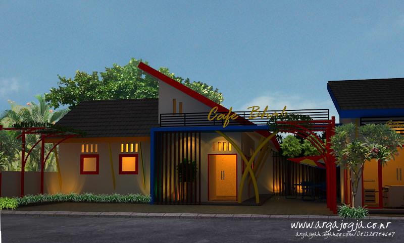 Desain Eksterior Cafe Trendi Full Color