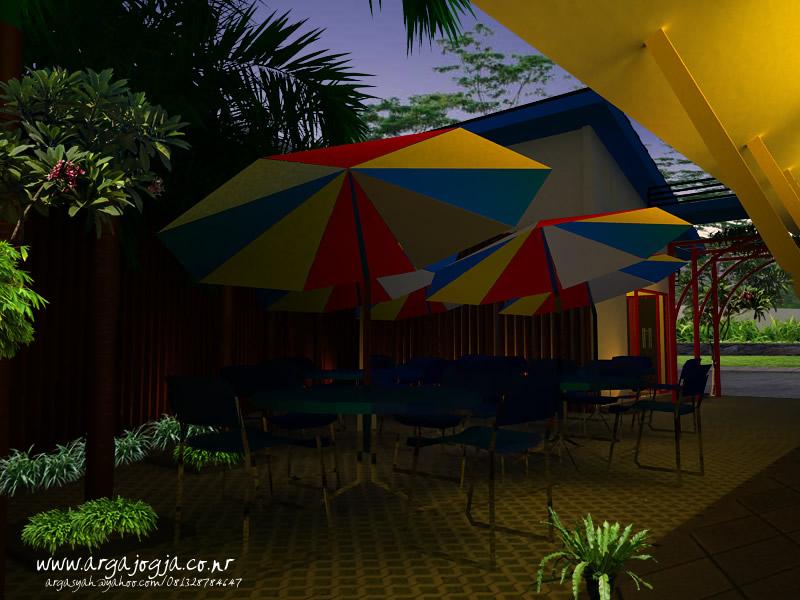Desain Eksterior Cafe Trendi Full Color Insert View