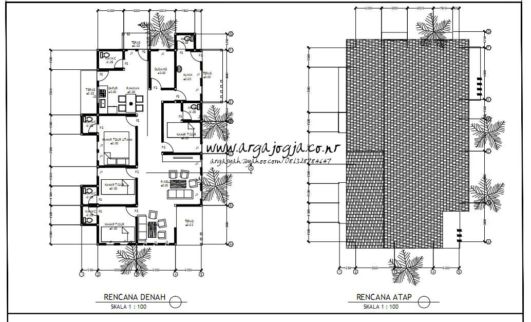 Gambar Kerja Denah dan Rencana Atap Rumah dengan Lahan Melebar