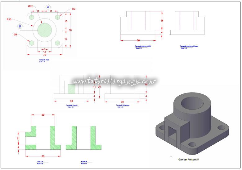 Hasil Cetak dan Eksport PDF Tutorial AutoCAD 2013 Mesin