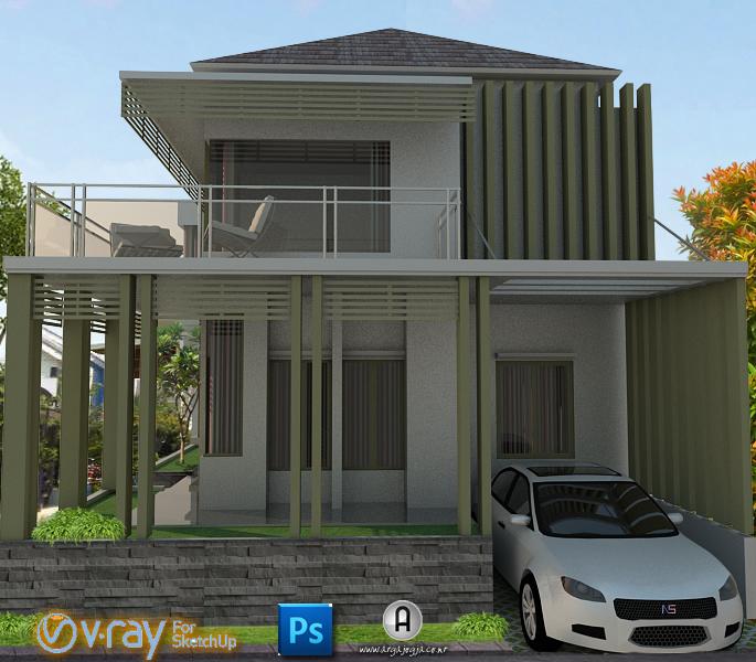 Desain Eksterior Rumah Kaca dengan Carport Modern