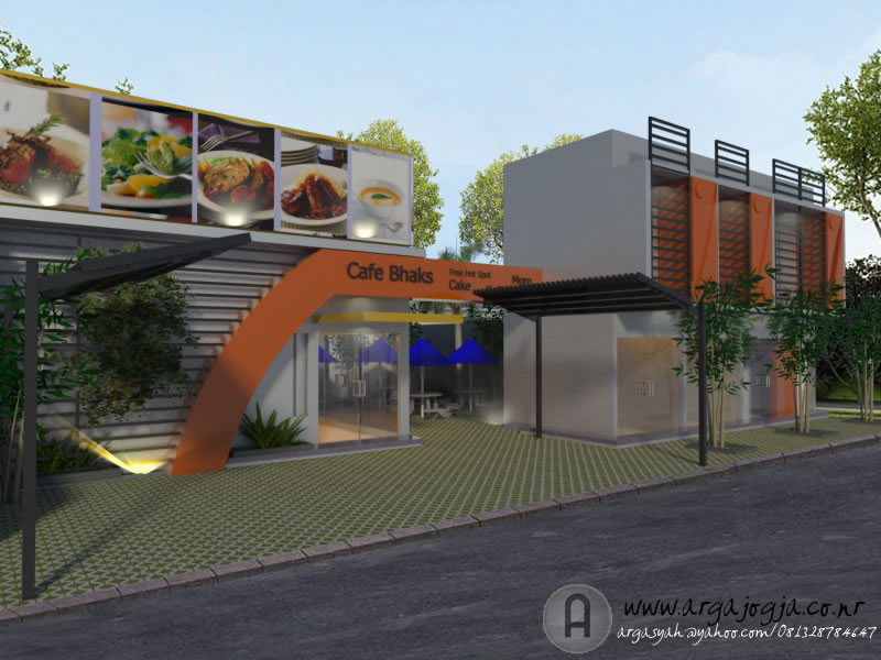 Desain Fasad Tempat Usaha Cafe dan Ruko 2 Lantai Modern
