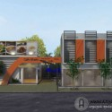 Desain Fasad Tempat Usaha Cafe dan Ruko Modern 2 Lantai