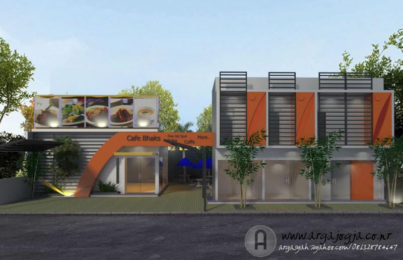 Desain Fasad Tempat Usaha Cafe dan Ruko 2 Lantai Modern Front View