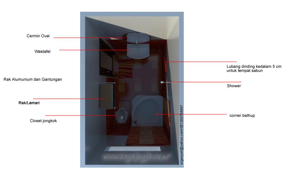 Denah Desain Interior Kamar Mandi 2x3 Meter