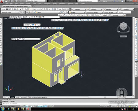Video Tutorial AutoCAD 2014 3 Dimensi Membuat Rumah 2 Lantai Available Now