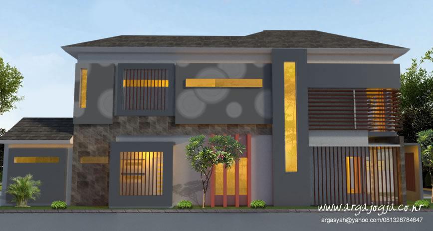 Desain Rumah 2 Lantai Lahan Memanjang Pojok
