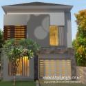 Desain Rumah Kavling Pojok 2 Lantai Modern Minimalis Lahan Memanjang