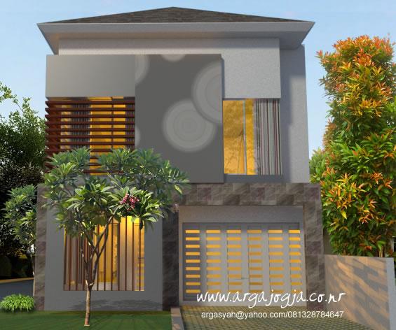 Desain Rumah Fasad 2 Lantai Depan Lahan Memanjang Hook