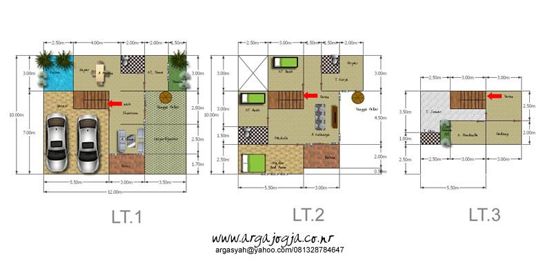 Rencana Denah Sketchup Renovasi Rumah Semi 3 lantai
