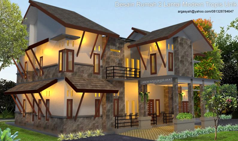 Desain Fasad Rumah Modern Tropis Unik 2 Lantai