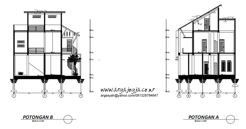 Gambar Kerja Potongan Rumah Semi 3 Lantai