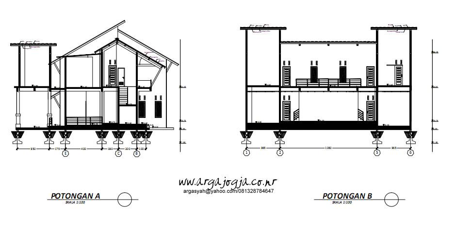 Gambar Potongan Rumah 2 Lantai Modern Tropis
