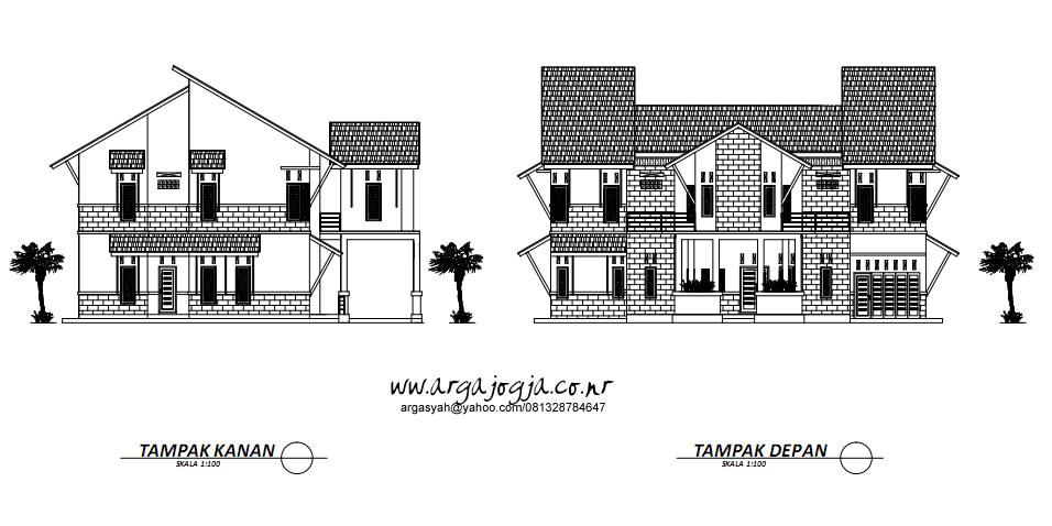 Gambar Kerja Tampak Rumah 2 Lantai Modern Tropis