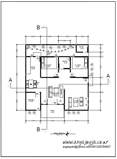 Gambar Kerja Rumah Tipe 85 Denah