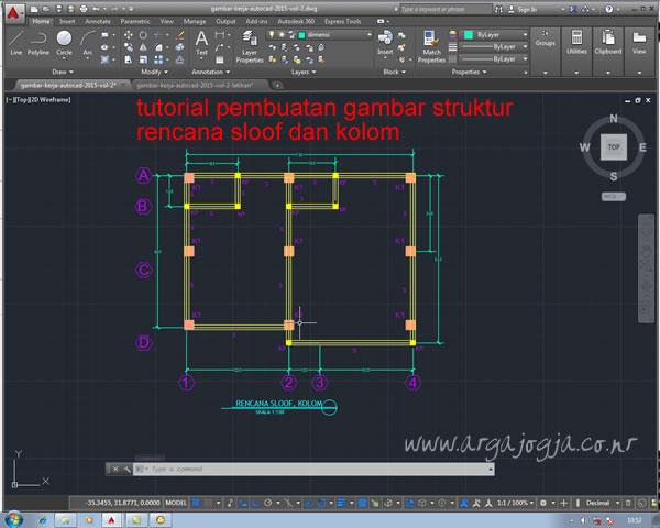 Pembuatan Gambar Struktur Letak Sloof dan Kolom
