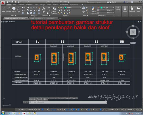 Pembuatan Detail Tulangan Sloof dan Balok