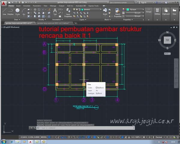 Pemuatan Gambar Rencana Struktur Balok Lt 1