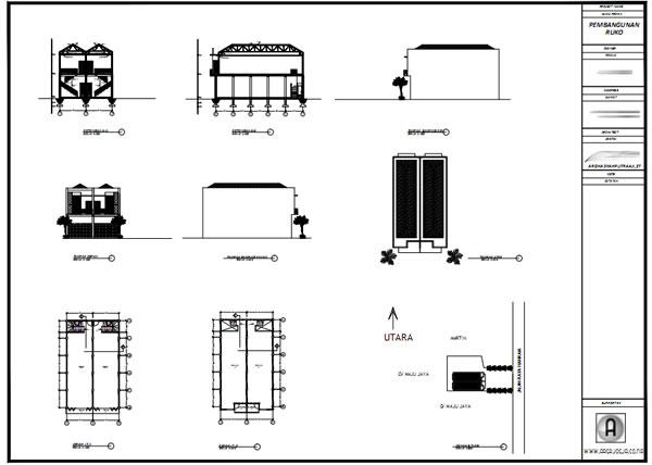 Gambar Kerja IMB Ruko 2 Lantai Modern Minimalis Kertas A0