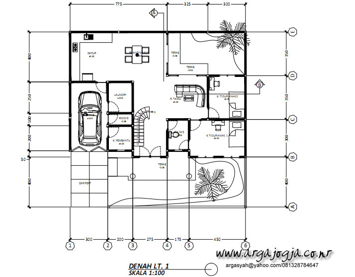 Denah Rumah Classic Lantai 1