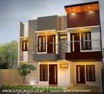 Desain Fasad Modern Minimalis 2 Lantai Kembar
