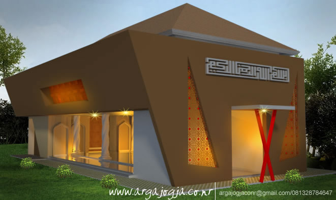 Desain Fasad Masjid Minimalis Bentuk Unik