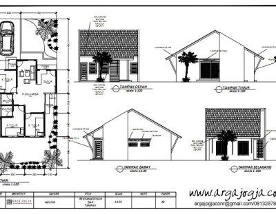 Gambar Kerja Denah dan Tampak Rumah 1 Lantai Lahan 7,5 x 19 meter