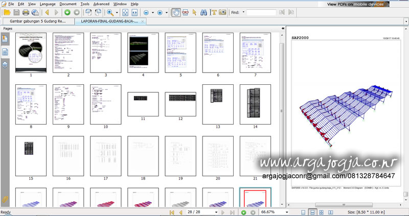 Tampilan Seluruh Laporan IMB Gudang Baja Format PDF